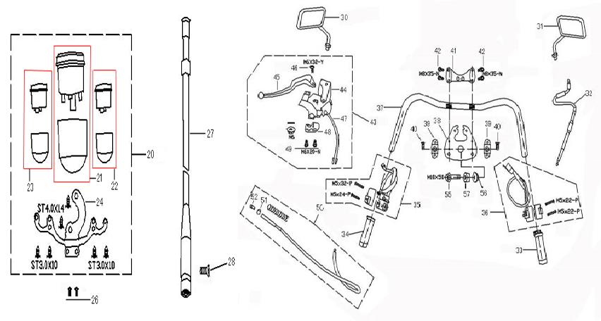 Tacho-Welle-Schnecke- Gasgriff-Gaszug- Griffe