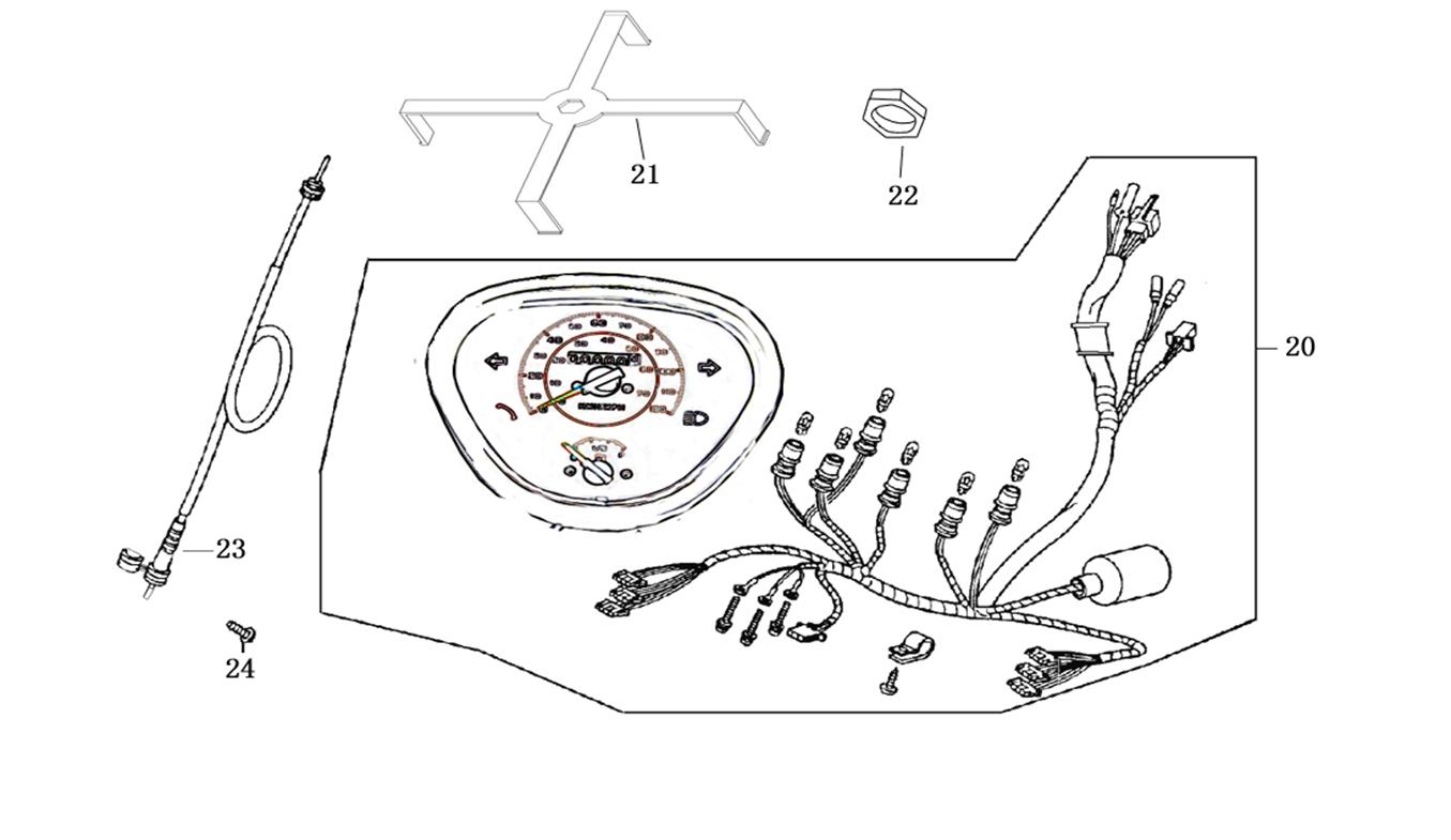 Tachoeinheit- Tachowelle- Tachoschnecke-Tachometer Roller 50er - 125er Modell ZNEN F, F7, F8